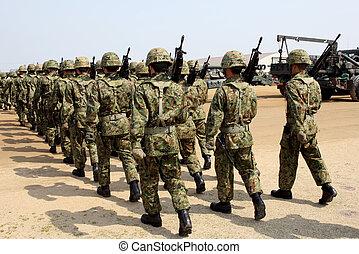 japansk, beväpnat, marsch, tjäna som soldat