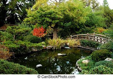 japansk, bri, trädgård