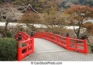 japansk, bro, och, tempel