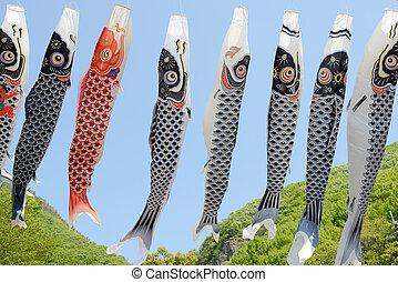 japansk, carp-shaped, banderoll