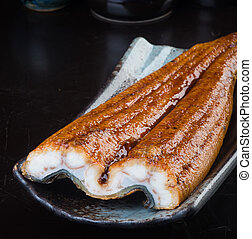 japansk, cuisine., unagi, eller, ål, på, den, baggrund