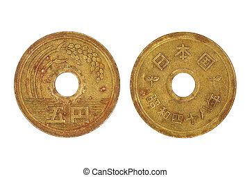 japansk, fem, yen, coin.
