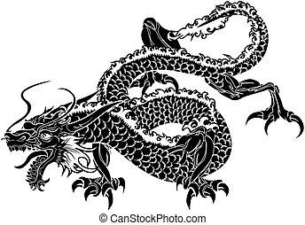 japansk, illustration, drake