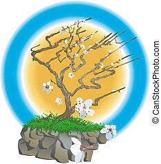 japansk, illustration, träd