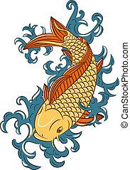 japansk, koi, (carp, stil, fish)