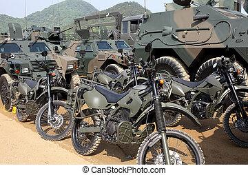 japansk, militær, motorcycle