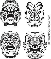 japansk, noh, teatralsk maskerer
