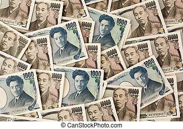 japansk, pengar, japan, noterar., yen