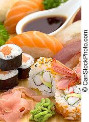 japansk, sushi, tallrik