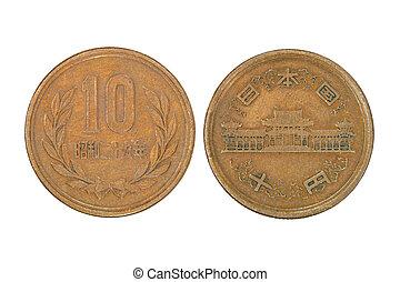 japansk, tio, yen, coin.