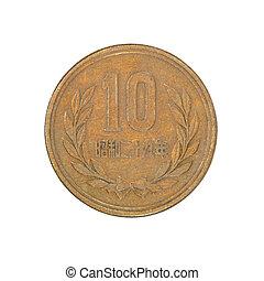 japansk, tio, yen, coin.isolated.