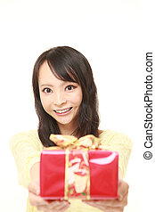 japanska, gåva, erbjudande, ung