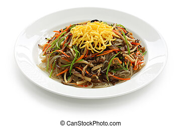 japchae, korean cuisine, on a white background