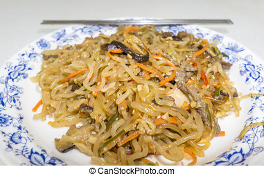 japchae korean dish - traditional korean dish called japchae...