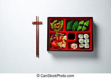 japończyk, bento, jadło, różny, boks, vegeterian, zdrowy, styl, lunch