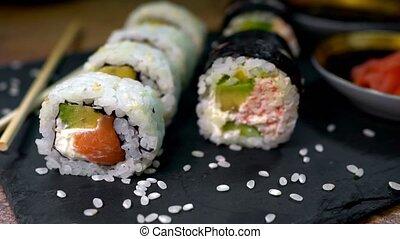 japończyk, chopsticks., ewidencja, komplet, jadło., sushi