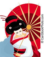 japończyk, gejsza