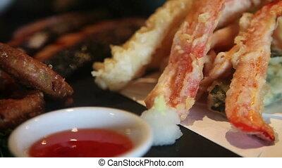 japończyk, komplet, lunch, zoom na zewnątrz