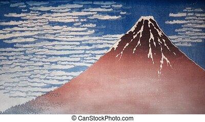japończyk, krajobraz, styl, zima, góra