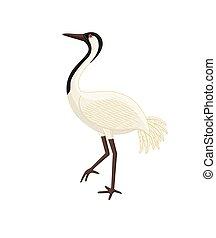 japonés, agradecido, pájaro de la grúa, vector