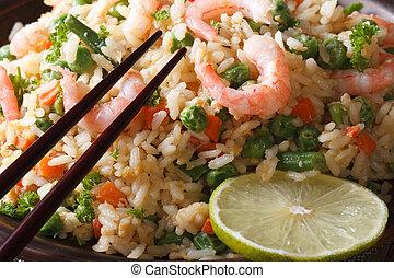 japonés, chahan:, arroz frito, con, camarón, macro.,...