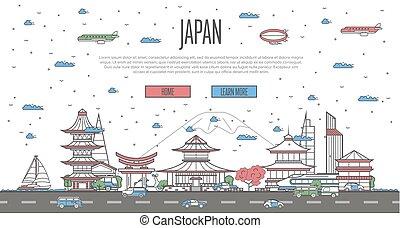 japonés, contorno, con, nacional, famoso, señales