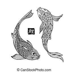 japonés, dibujo, mano, koi, dibujado, fish., línea, colorido...
