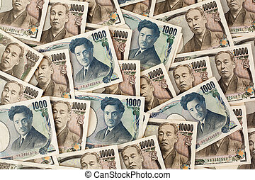 japonés, dinero, japón, notas., yen