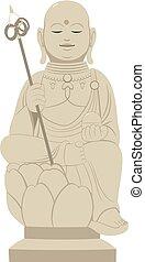 japonés, estatua, shinto