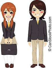 japonés, estudiantes, posición