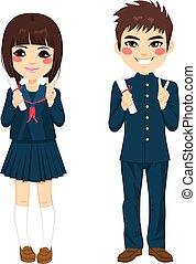 japonés, estudiantes, uniforme