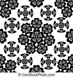 japonés, flor, Ilustración,  seamless, estilizado, negro,  sakura, simbolismo
