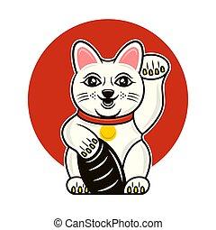 japonés, gato afortunado, maneki, caricatura, neko, vector