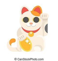 japonés, gato afortunado, maneki, neko.