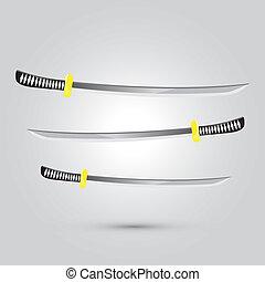 japonés, ilustración, arma, vector, espada, ninja, caricatura