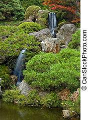 japonés, jardín