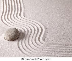 japonés, jardín zen