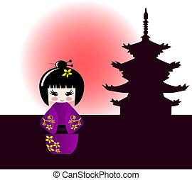 japonés,  kokeshi, templo, muñeca