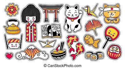 japonés, maneki-neko, torii., kawaii, kokeshi, ginko, manga,...