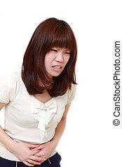 japonés, mujer, sufre,  Stomachache, joven