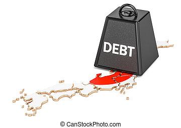 japonés, nacional, deuda, o, presupuesto, déficit, financiero, crisis, concepto, 3d, interpretación