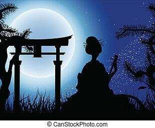 japonés, noche, geisha