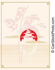 japonés, pagoda, bambú, y, sol