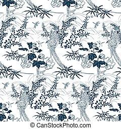 japonés, patrón, pájaro, tinta, estilo, chrysantemun, ...