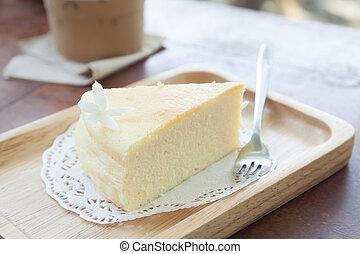 japonés, queso, pastel, en, de madera, placa