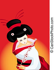 japonés, rama, geisha
