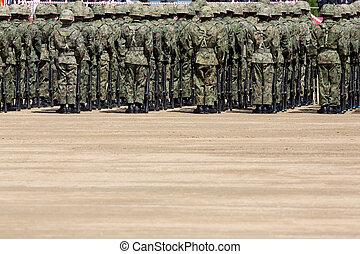 japonés, soldado, en, el, base militar