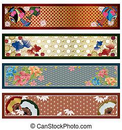 japonés, tradicional, banderas