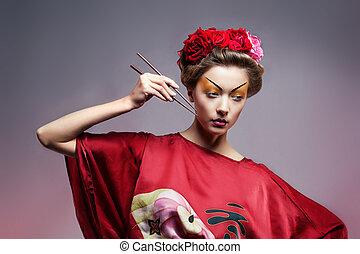 japonés, tradicional, disparo., moda, kimono, paraguas, ...