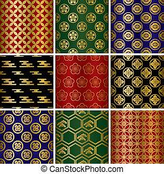 japonés, tradicional, patrones, conjunto